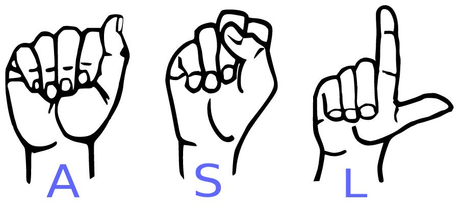 illustration of three hands spelling ASL